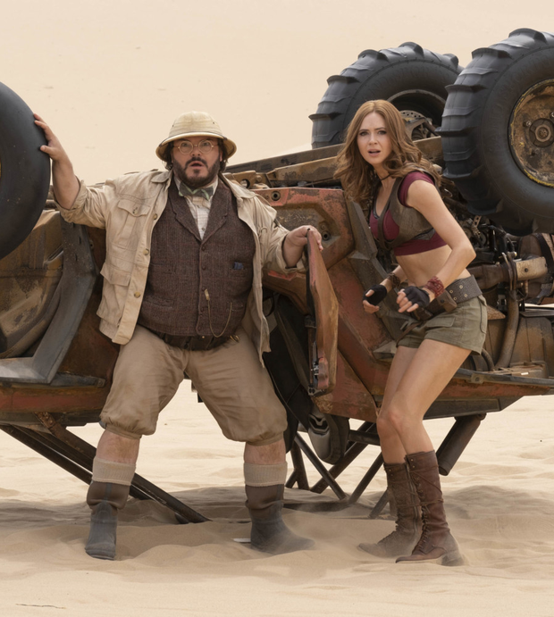 Jack Black as Professor Sheldon Oberon and Karen Gillan as Ruby Roundhouse in Jumanji: The Next Level