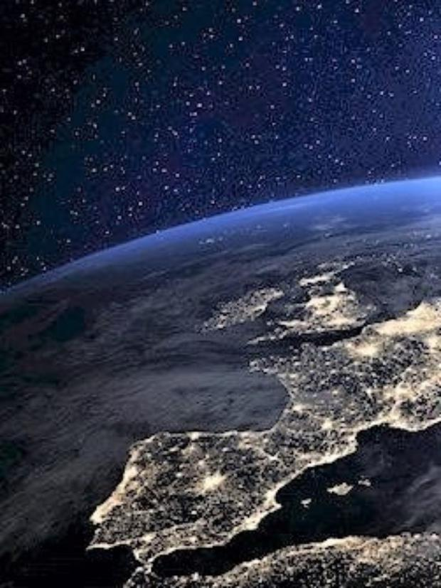 Western Europe at night as seen from space