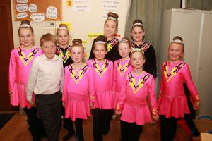 Members of the Caroline Fleming Irish Dance Academy taking part in the Opportunity Knocks talent competition final in Shamrock Hall, Kilanerin.
