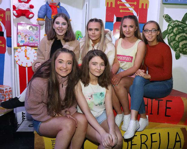 Back - Claudia O'Neill, Savannah Kehoe, Olivia Smith and Cora Butler; front- Dion Cahill and Clionadhna who took part in Rathnure Pantomime Society's production of 'Toybox The Panto!' in Rathnure Hall