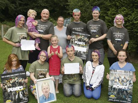 At the Shave or Dye were (front from left) Michaela Murphy, Megan Morgan, India Casey, JJ Larkin, Clodagh Morgan and Faythe Casey. (Back from left) Lyndsey Gray, Isabella Casey, Anthony and Ellen Casey, Dillon Byrne, Killian Casey and Breda Morgan