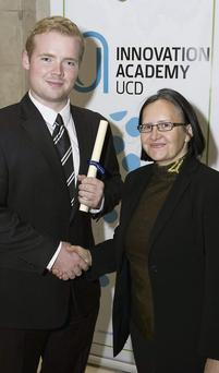 Receiving his certificate from Suzi Jarvis (founding director UCD Innovation Academy) was Aaron Byrne, from Gorey.