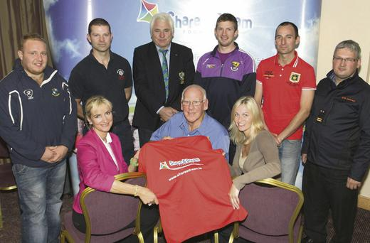 At the launch of the Monster Dream Run in the Amber Springs hotel were, front (from left): Caroline Fleming, Shay Kinsella, founder of 'Share a Dream' and Louise Kehoe. Back: Matt Bater, Gary Fortune, John Breen, Anthony Masterson, Paul Gibbons and Denis Sheridan.