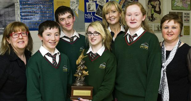 The victorious Junior History Quiz team from left Charlie McGuckin, Seamus O'Donnell, Grace O'Brien, Ms Derville O'Malley-Moore and Laura Kenny.