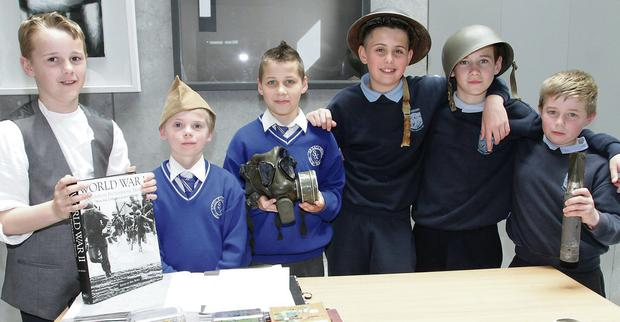 Pupils from Boolavogue Ns and Scoil Eoin Baiste Galbally were in Wexford County Council on Friday afternoon for Europe Day Celebration's. Eamon Doyle, Luke Hynes and Ian Dunne (Galbally NS), Jack Tyrrell, Ciaran Walsh and Jim Gahan (Boolavogue Ns)