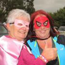 Lucia Nolan and Aisling Chambers at the Golden Anchor for the start of the Mason's Superhero Fun Run