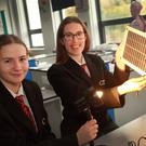Students at Creagh College who are taking part in the BT Young Scientist show: Amelie Flavin and Amy Costello with their solar power sleeping mat for the homeless
