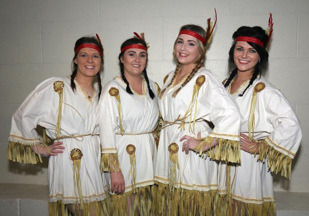 Senior dancers, Emma Dunne, Trish Dwyer, Ailish Moynihan and Lisa Jordan all ready to go backstage at Ferns Dramatic Society's production of Peter Pan in Ferns Community Centre