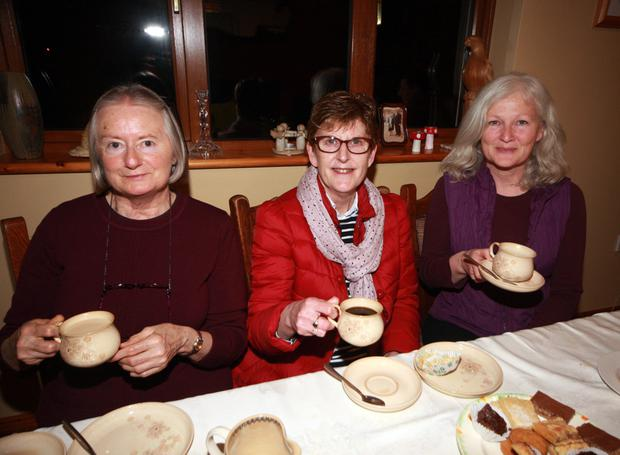 Iris Hill, Gwen Poole and Lisa McBride at the Daffodil Day coffee morning at the home of Ivan and Mary Rynhart, Ballyfoley, Camolin