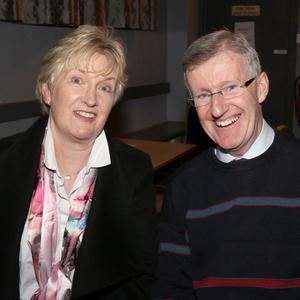 Mairead Fanning and John Burke-O'Leary at the table quiz held in the IFA Centre, Enniscorthy in aid of Hillbrook Lawn Tennis Club