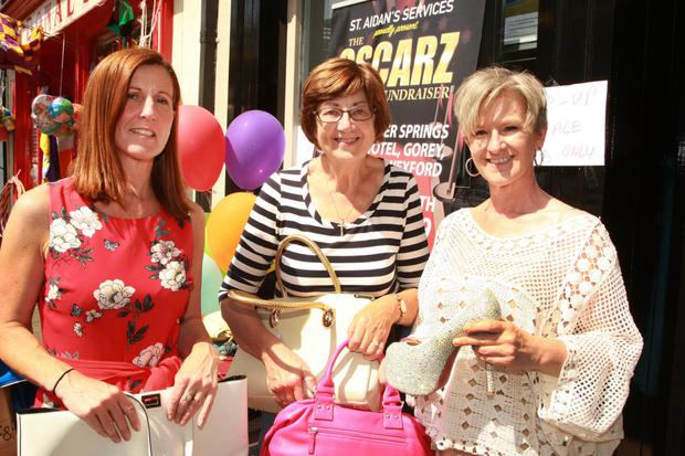 Eleanor Hughes, Eileen Porter and Tracy Smith at 'Buy my Dress' in Quinn Property, an Oscarz fundraiser in aid of St Aidan's Services