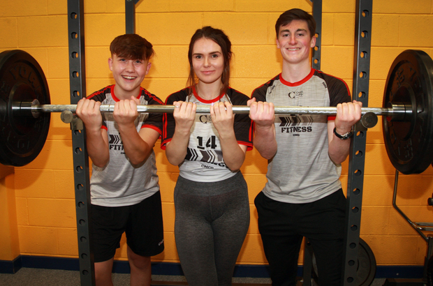 Creagh College students Josh Donohoe Kavanagh, Orlaith Marks and Andrew Mulvey Mescall show some strength at the school's open night