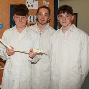 Science teacher, Triona Conroy with students, Cathal Whelan, Ryan Keating Connolly and Eoin Doyle at the Creagh College open night