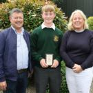 James Aylward with his parents Peter and Catherine at the FCJ Bunclody Awards Day