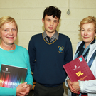 Pictured at the careers evening in Coláiste Bhríde, Carnew were principal Linda Dunne with student Cathal Hayden and his mother Mary