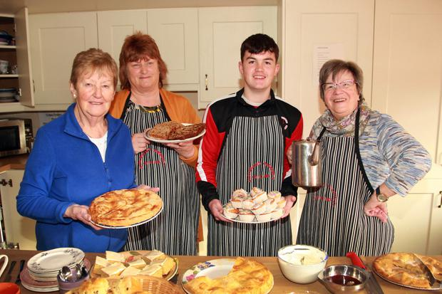 Eileen Hendley, Gertie Mythen, Connor McCarthy and Liz Duncan helping out with the refreshments at the North Wexford SPCA coffee morning in May's Community House, Coolgreany