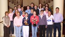 A BLAST FROM THE PAST - 2003: Gorey Community School equestrian teams, All Ireland and County winners, pictured at their celebration dinner in the Ashdown Park hotel with their team manager Claire Kinsella and coach Jim Donohoe.