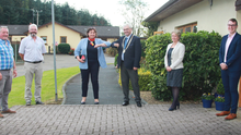 Minister Anne Rabbitte with Cathaoirleach Cllr Joe Sullivan, Eimear Mannion, CEO of Saint Aidan's Services and (from left) Cllrs Donal Kenny, Pip Breen and Andrew Bolger during her visit to St Aidan's Daycare Centre in Gorey