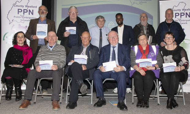 At the launch of 'Our Vision for Community Wellbeing' in Wexford County Council buildings were Wexford PPN Secretarial Representatives (from left) back, Jonathan King, Dan Kennedy, John Carr, Zakaria Mohamed, Tom Logan, and John Waters; front, Lucy Medlycott, Noel Stacey, Tony Clyne, Sean Healy (Social Justice Ireland), Anne Lacey and Annette Depuy