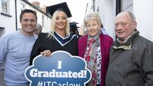 Laura Lawlor (New Ross) with her parents Mary and Paddy Caulfield and her husband Mark after her conferring with a BA (Hons) in Early Childhood Education and Care from the Wexford Campus of IT Carlow