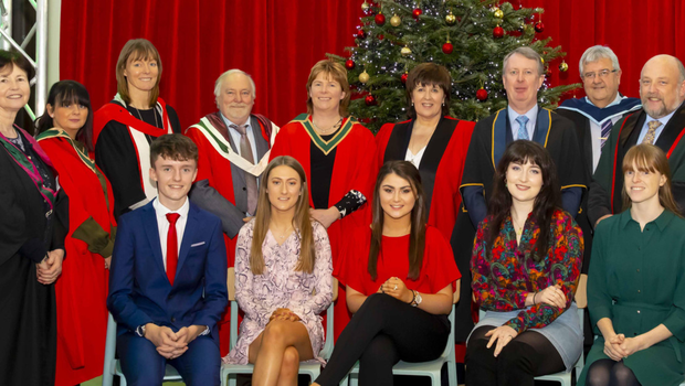 Academic scholars from Wexford who attained the highest entry points for their chosen programme of study at Institute of Technology Carlow (from left), Adam Jordan Kelly, BSc. (Hons) in Sport Rehabilitation and Athletic Therapy; Niamh McCormack Hayes, BA(Hons) Early Childhood Education and Care; Leagh Clancy, BA (Hons) Early Childhood Education and Care; Ellen O'Donnell, BA (Hons) in Art; and Nichola Murphy, BA (Hons) in Visual Communications and Design. They are pictured with Institute academic staff, from left, Meabh Maher, Head of Faculty of Business and Humanities; Dr. Eileen Doyle Walsh, Head of Dept. of Humanities; Paula Rankin, Head of Dept. of Science and Health; Dr. David Dowling, Head of Faculty of Science and Health; Dr. Karen Hennessy, Head of Wexford Campus; Dr. Patricia Mulcahy, President, IT Carlow; Cormac O'Toole, Vice-President for Corporate Affairs; Myles Kelly, Head of Department of Sport, Media and Marketing; David Denieffe, Vice-President for Academic Affairs; and Dr Cathal Nolan, Head of Dept. of Aerospace, Mechanical and Electronic Engineering