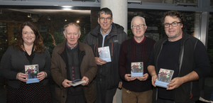At the launch of the 'Bolldoons and Wren Boys' DVD in Wexford Library: Lorraine Marrey of Wexford Library, Peadar Mordaunt and Colin McDevitt, Kilanerin Men's Shed, Patrick Healy of Enniscorthy Men's Shed) and Michael Fortune, producer