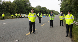 Dave Sheehan, Assistant Commissioner South Eastern Region, Sgt. Kevin Bolger, Gorey Roads Policing Unit, Supt. Gerry McGrath, Enniscorthy, Insp. Syl Hipwell, Enniscorthy and Assistant Commissioner Paula Hilman, Roads Policing at the launch of the Active Mobility Service App at a check point on the Dublin road just outside Enniscorthy