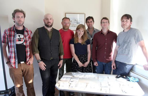 Enda O'Flaherty, Damian Shiels, Ciarán Davis, Hilde van der Heul, Sam Wilson, James Bonsoll and Michael Kinsella at the Map My Battle lecture 'Uncovering the Archaeology of Vinegar Hill' in Enniscorthy Library