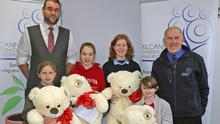 Mia Whelan, Marshalstown NS, Tara Murphy, Ferns NS,Enya O'Connor, Colaistean Atha, Kilmuckridge and Alannah Moore-Clarke, Ballyroebuch NS, prizewinners in the Christmas Art Competition, sponsored by the Riverside Park Hotel, at Kilcannon Garden Centre with Barry Carroll, assistant general manager of Riverside Park Hotel and Ben Bernie, manager of Kilcannon Garden Centre