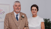 Johnny Mythen and his wife Barbara on their wedding day in November, which fell just before the by-election in which Johnny was the Sinn Fein candidate