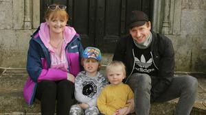 Mark Lawler with his children, Billy and Frankie and their aunt, Claire Twyford