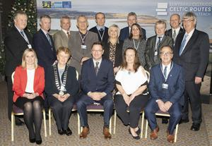 Dignitaries at the launch,from left, back – Ger Mackey (Wexford County Council), Michael Quinn (Director of Services, Waterford County Council), Roger Pride (Heavenly), Graham Peake (Pembrokeshire), Fred Verdier (Wicklow Tourism), Sian Jones (Carmarthenshire County Council), Frank Curran (CE, Wicklow County Council), Rhian Phillips (Carmarthenshire County Council), Bobby Duggan (Waterford City Council), Michael Nicholson (Wicklow County Council) and John Carley (Director of Services, Wexford County Council); front – Aileen Dowling (Ireland's Ancient East), Cllr Kathleen Codd Nolan, Cllr Michael Sheehan (Chairman, Wexford County Council), Oonagh Messette (Project Officer, Wexford County Council) and Emlyn Dole (Chairman, Carmarthenshire County Council)