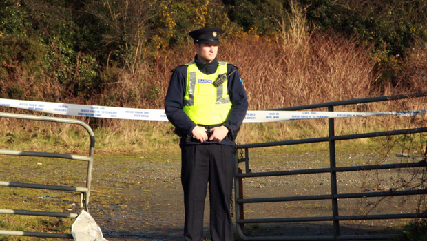 Gardai at the sealed-off scene