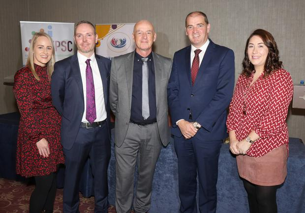 Karen Mooney, Tony Kennedy, Senior Manager for Prevention, Partnership and Family Support for Waterford and Wexford; Vincent Daly, Tusla Area Manager; Minister Paul Kehoe and Linda McCann at the launch of Wexford Parents Hub in the Riverside Park Hotel, Enniscorthy