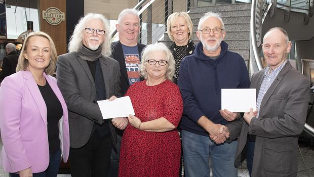 At the presentation of the cheques in Clayton Whites Hotel, from left: Cllr Lisa McDonald, Philip Cullen, Liam Collins, Phil Murphy (Wexford Tidy Towns), Angela Laffan (Borough District Manager), Roy Smith (SBHI Wexford) and Kevin Lewis