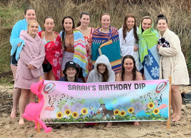 Some friends of Sarah Robinson who all took part in the Day to Remember birthday swim event which was held at Ballymoney