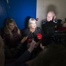 Fine Gael's Verona Murphy and Justice Minister Charlie Flanagan surrounded by media at the Wexford Count Centre on Saturday
