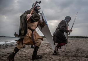 The Norman reenactment group depicting the arrival of the Normans on Bannow beach 850 years ago. On October 12 and 13, a re-enactment of the trial of Diarmuid MacMurrough will take place in Ferns