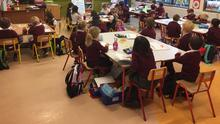 Pupils in their class group at Scoil Ghormáin Naofa, Castletown