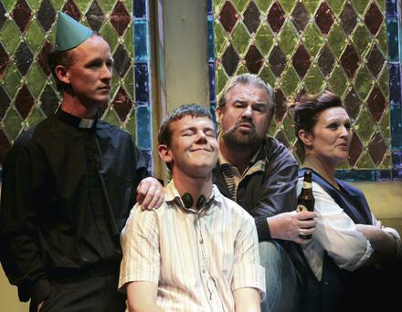 Chris Hayes as Fr Pat, Jack Matthews as Dominic, Tommy Murray as Donal and Nicola Roche as Angie in 'Belfry'.