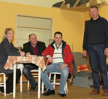 Brid Berney, Pat Berney, Brendan Doyle and Ger Doran in rehearsals for Craanford Drama Group's production of 'Thy Will Be Done'.