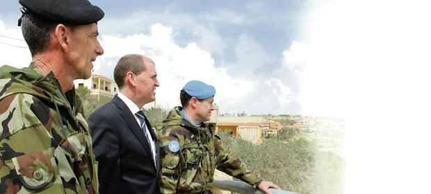 Minister of State Paul Kehoe TD receives an operational ground brief from Lieutenant Dónal Mitchell from Greystones, Co Wicklow at United Nations Post 2-45 in the village of At Tiri, South Lebanon. At Tiri was the site of stand off between Irish Peacekeepers and militia forces in April 1980 and is a site of huge importance to the Irish Defence Forces.
