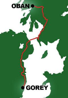 The driving route from Gorey to Oban, only 640km.