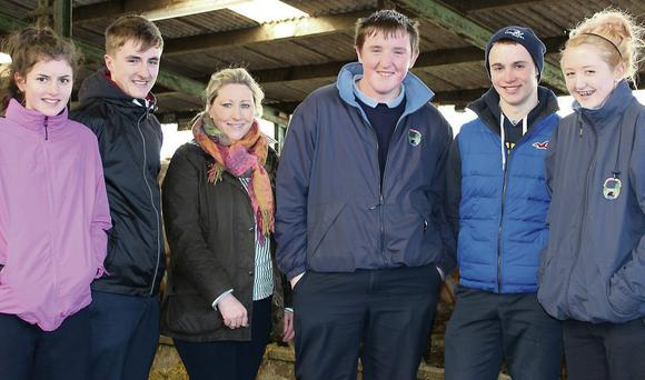 Coláiste an Atha students Pamela Walsh, Tomas Hammel, Jason Morgan, Aaron Davis and Chloe Bree-Kavanagh with Dr Vanessa Woods at Teagasc Grange Research Centre.