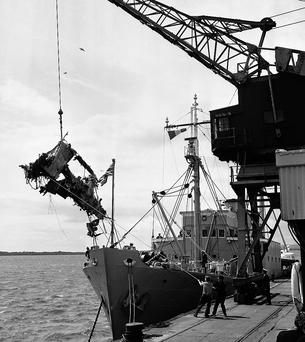 Wreckage from the Aer Lingus Viscount is hauled ashore at Rosslare in 1968.