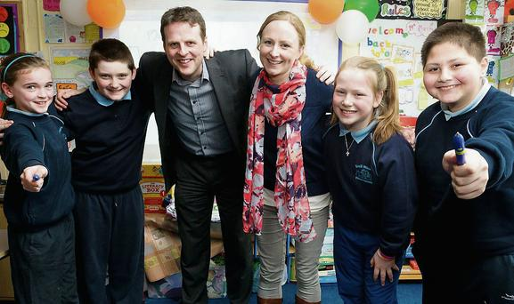 Pictured in front of the new smart interactive whiteboards in Scoile Mhuire, Horeswood, Campile, were Fourth Class pupils, Ciara Walsh and Aaron Hearne with Peter Gavican (SSE Airtricity Project Manager for Great Island CCGT), Miss Kathryn O'Hanlon (Scoil Mhuire Fourth Class teacher), and pupil Emer Hunt