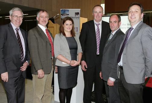 On Tuesday evening in Wexford County Council at a information session on expanding dairy industry were Tony Larkin, Brendan Cooney, Carmel Brislane Pat McCormack Deputy President ICMSA, Pat Murray Chairman Wexford IFA and Padraig O'Gorman.
