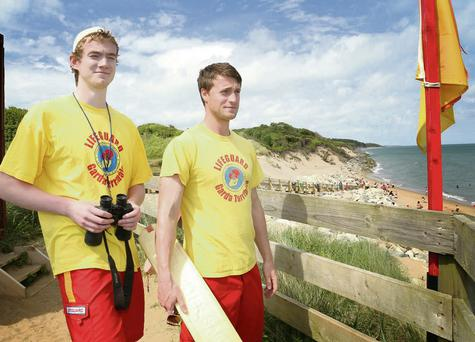 Lifeguards Dan Fitzpatrick and Bernard Steemers on Courtown's north beach last week.