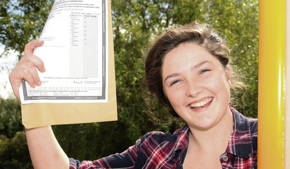 Patti Roche with her Leaving cert results at Gorey Community School