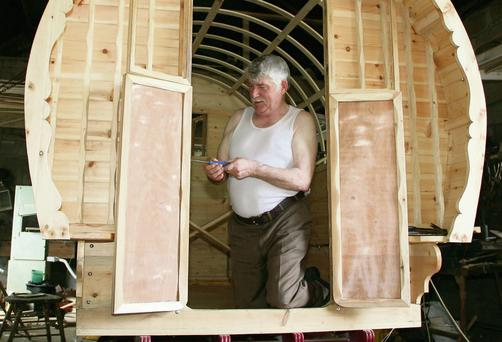Willie Connors fitting the doors to the Barrell Top Wagon